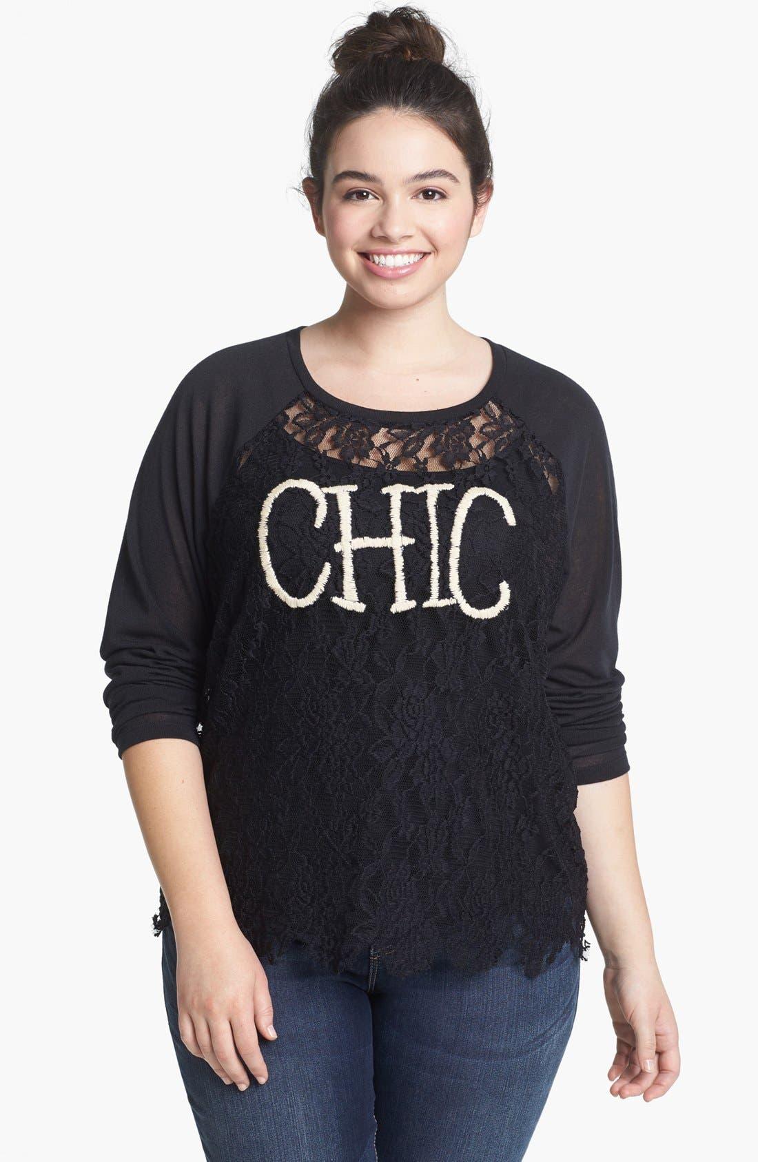 Main Image - Ten Sixty Sherman 'Chic' Lace Long Sleeve Tee (Juniors Plus)