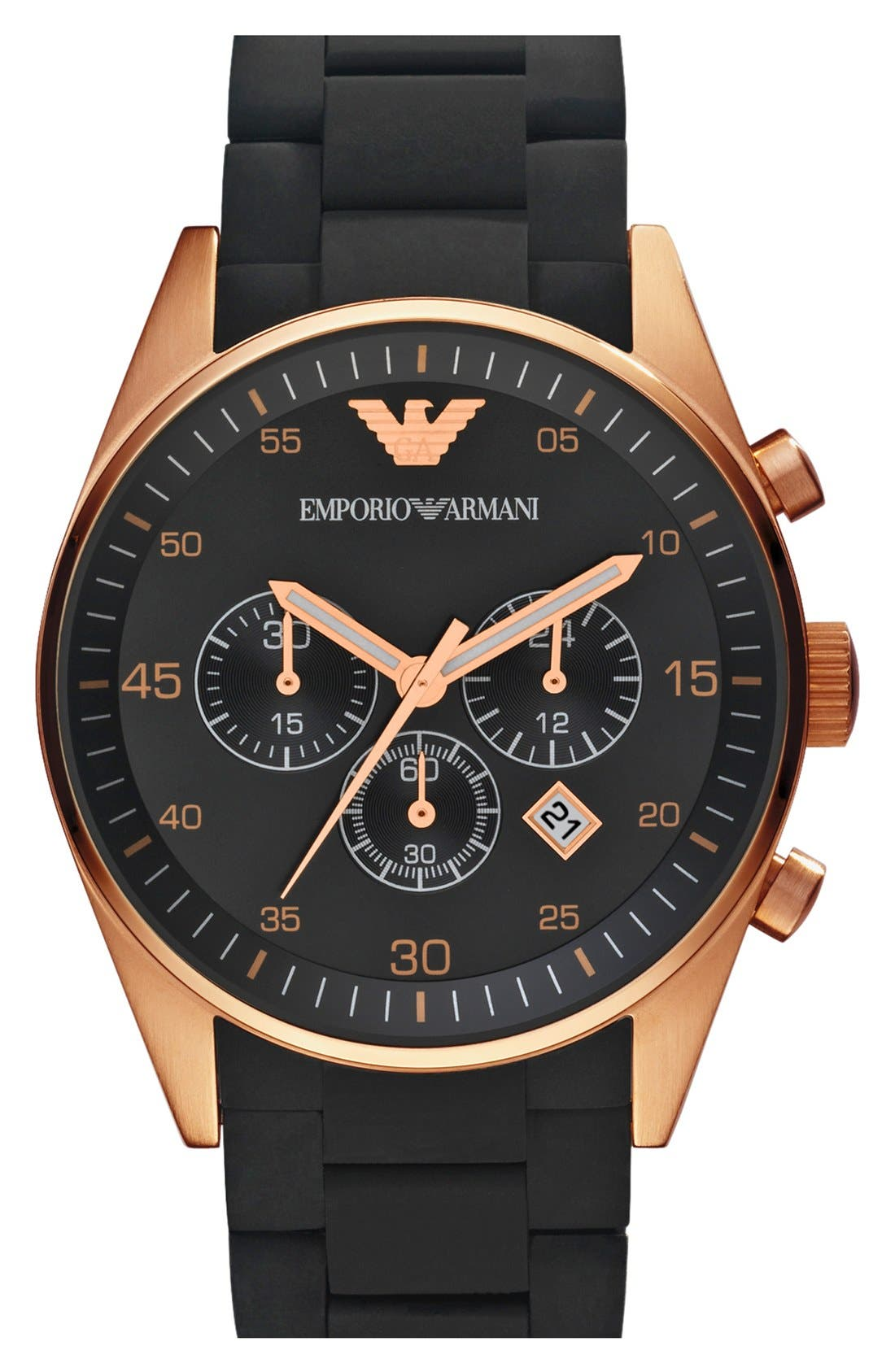Main Image - Emporio Armani Rose Gold Plated Silicone Strap Watch, 43mm