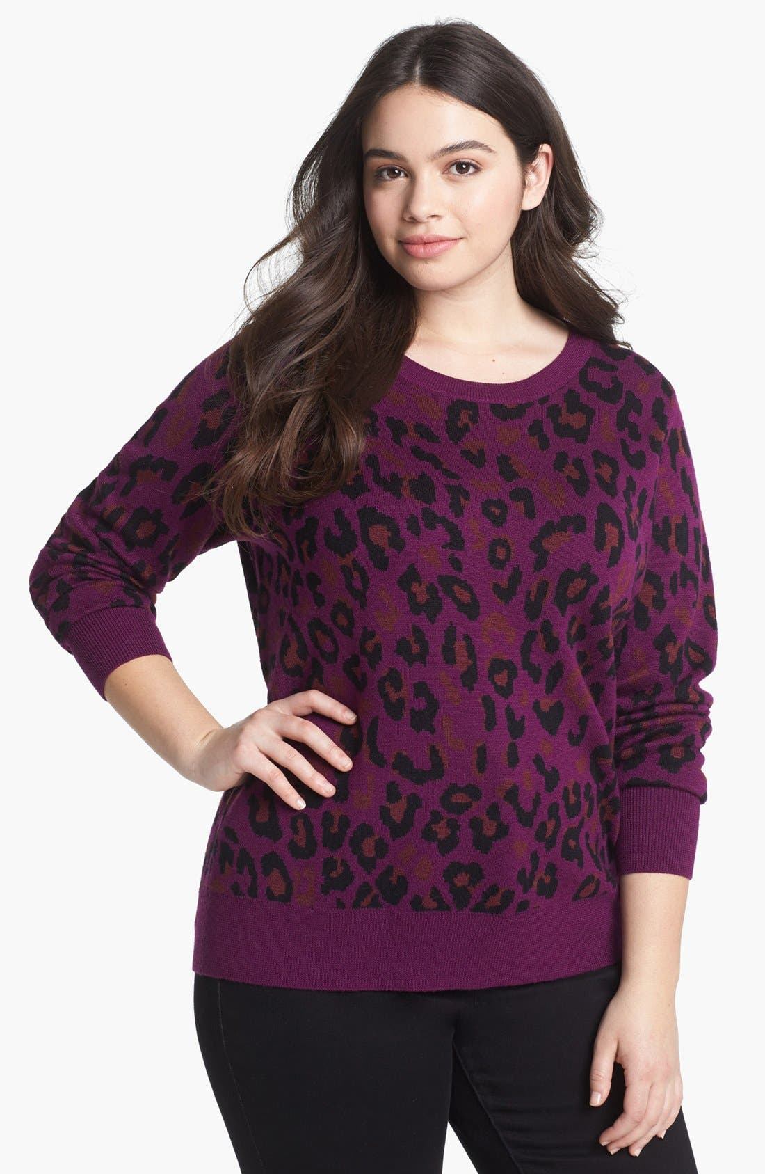 Main Image - Halogen® Crewneck Sweater (Plus Size)