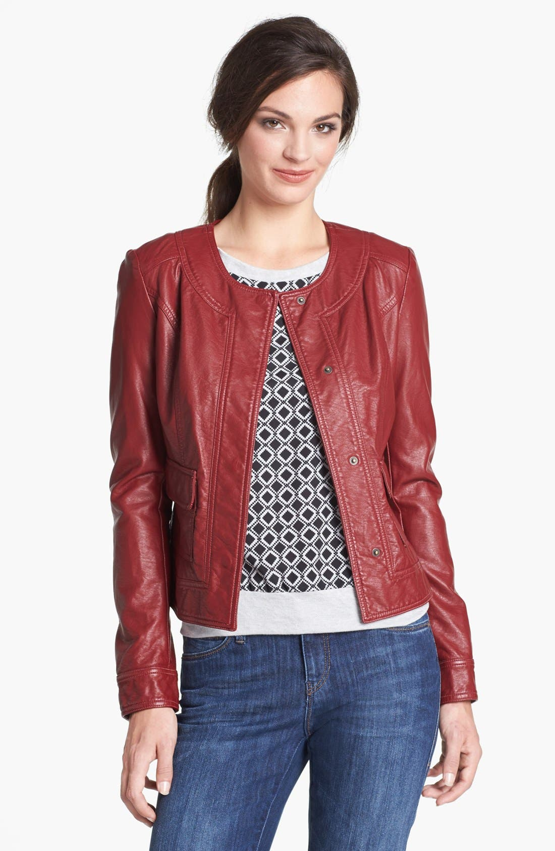 Alternate Image 1 Selected - KUT from the Kloth Faux Leather Snap Front Jacket