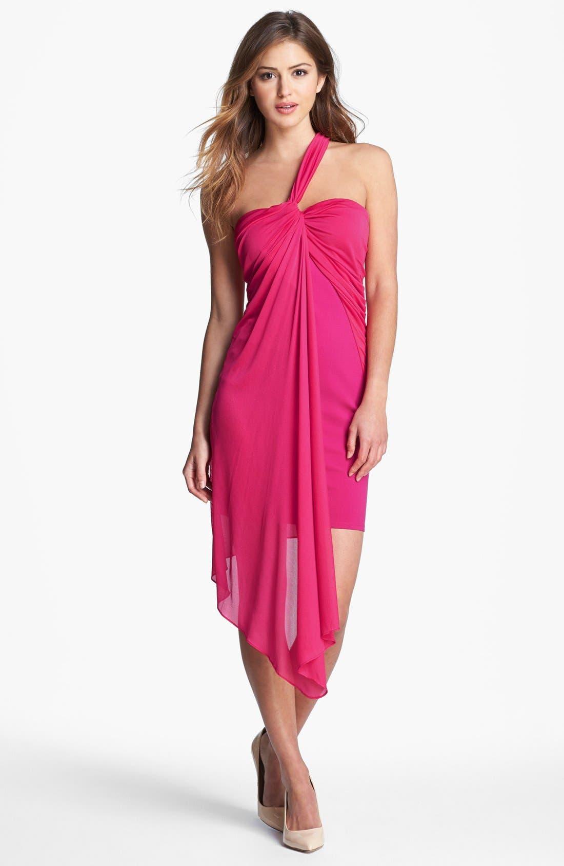 Main Image - Halston Heritage One Shoulder Ponte Dress