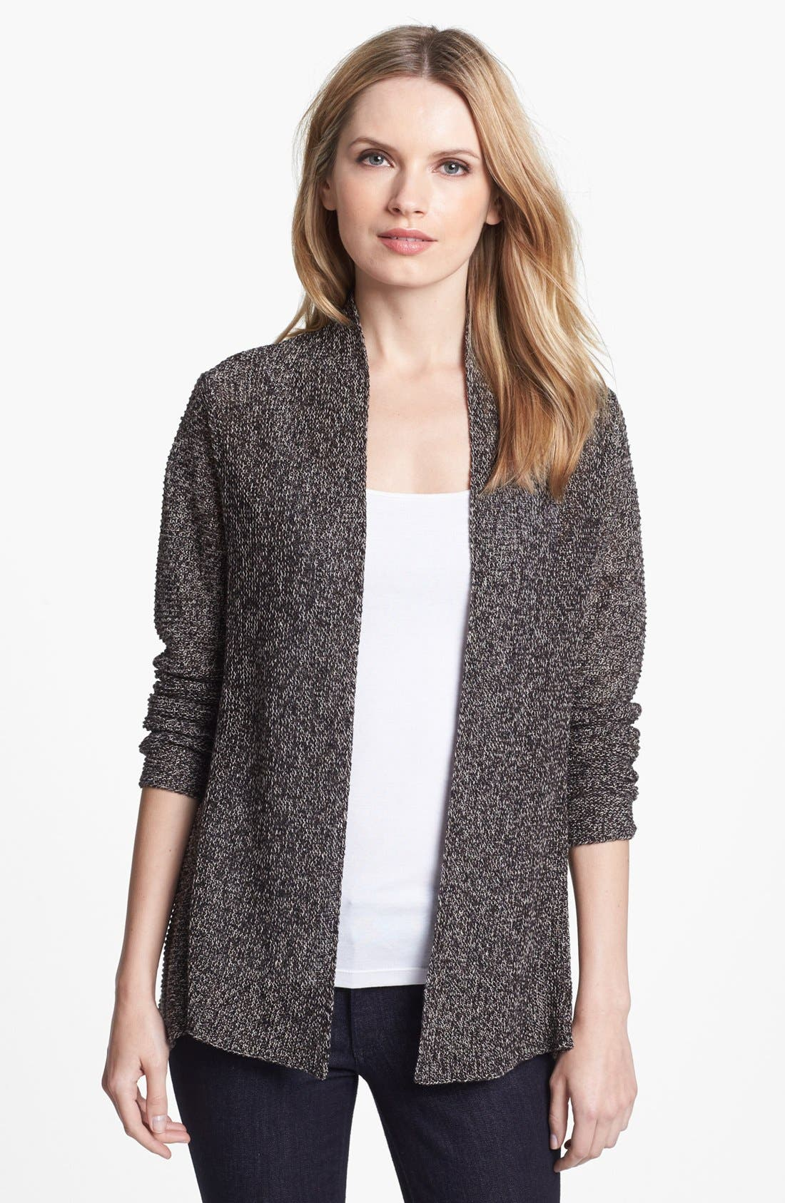 Main Image - Eileen Fisher Linen Flutter Cardigan (Regular & Petite)