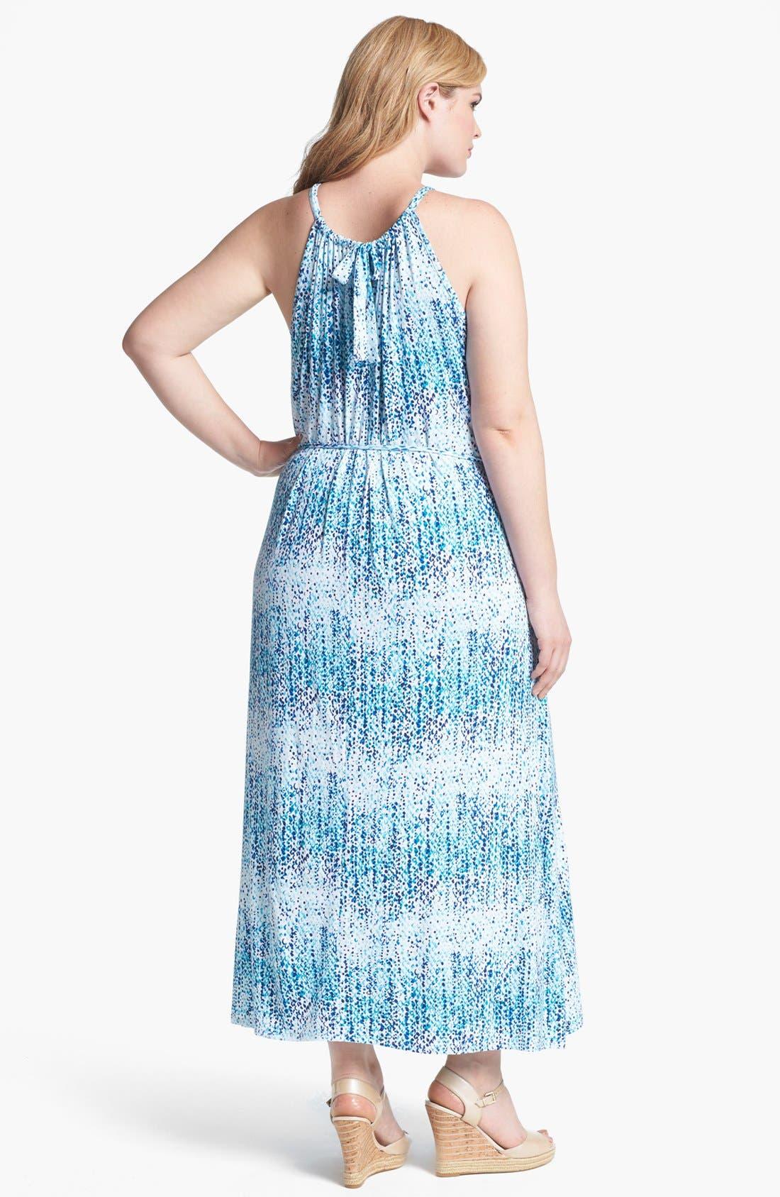 Alternate Image 2  - Loveappella Print Cutaway Maxi Dress (Plus Size)