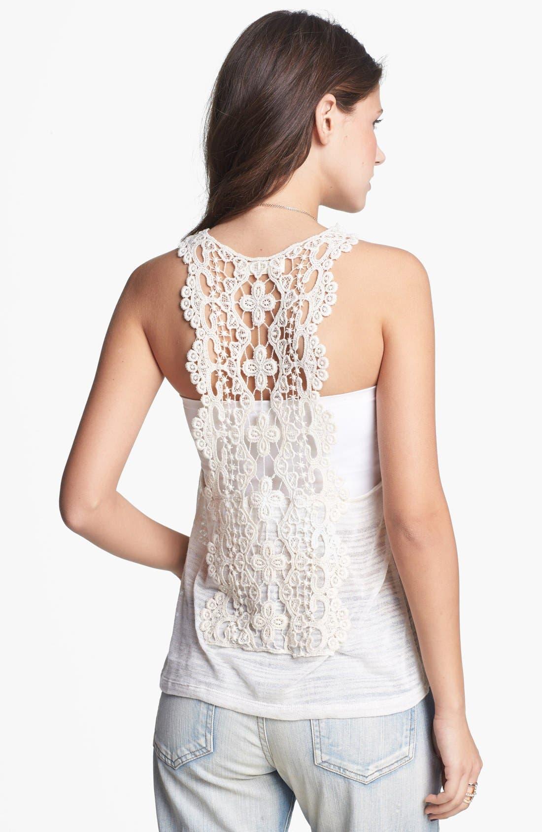 Main Image - Painted Threads Crochet Back Pointelle Tank (Juniors)