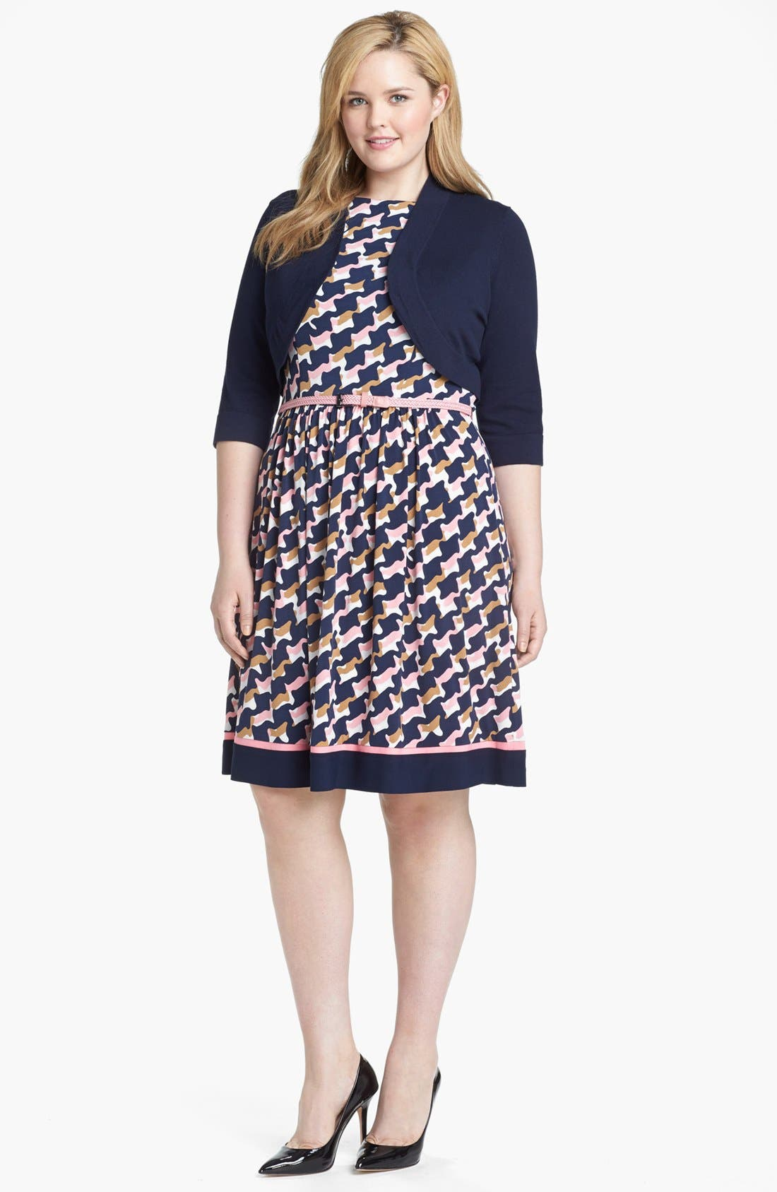 Alternate Image 1 Selected - Eliza J Print Dress & Bolero (Plus Size)
