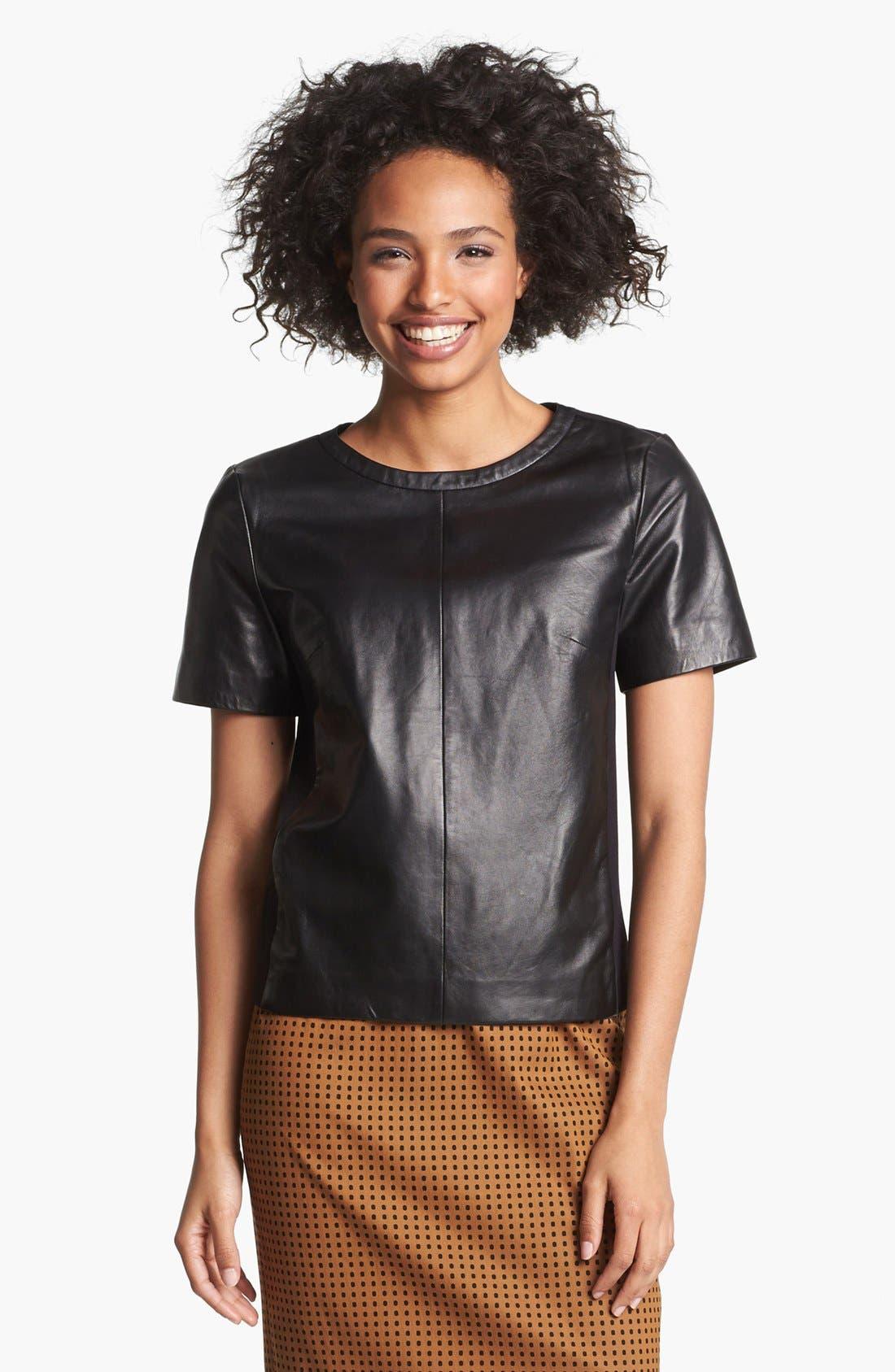 Alternate Image 1 Selected - Halogen® Leather Front Top (Regular & Petite)