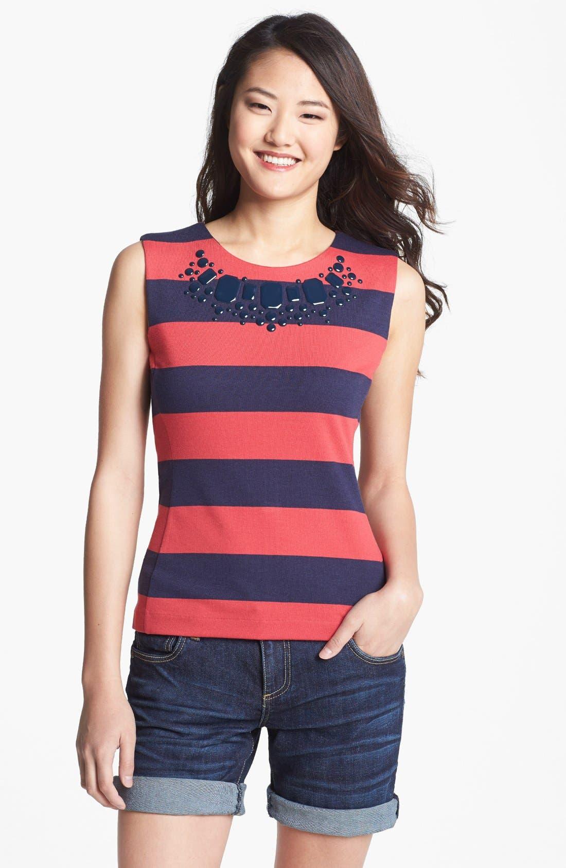 Main Image - Halogen® Embellished Stripe Shell