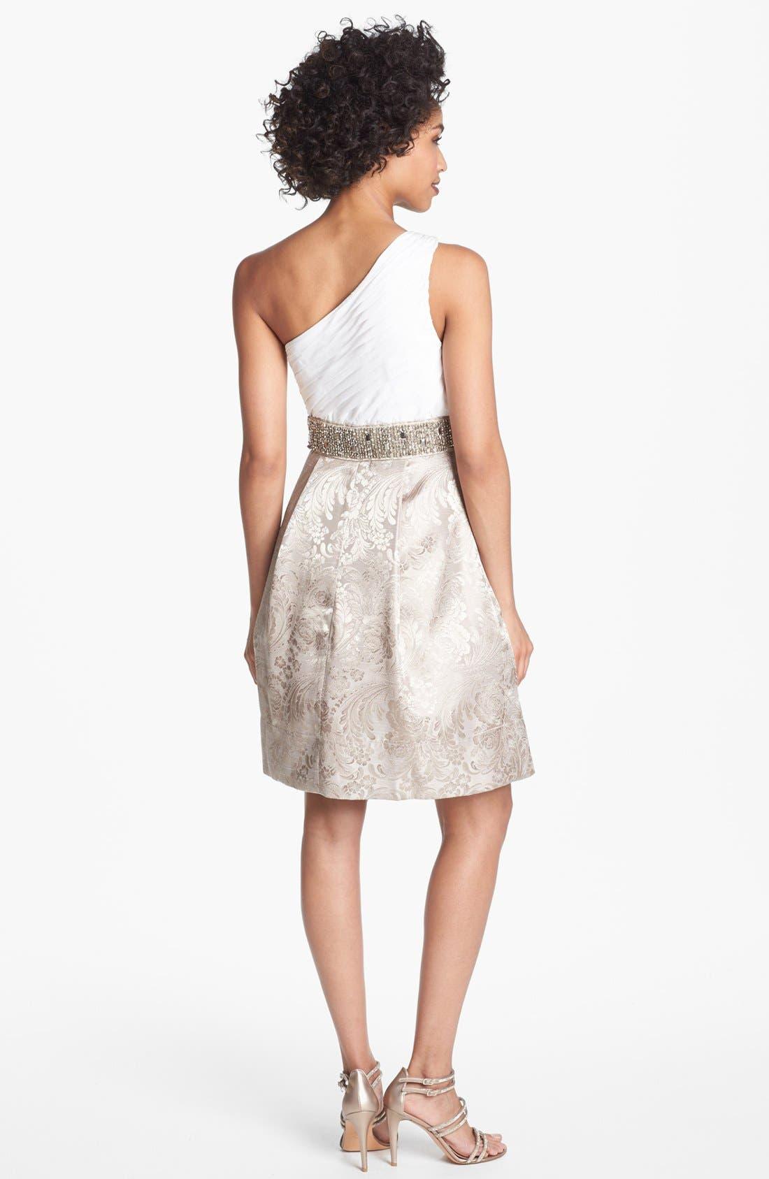 Alternate Image 2  - Eliza J Embellished One Shoulder Fit & Flare Dress