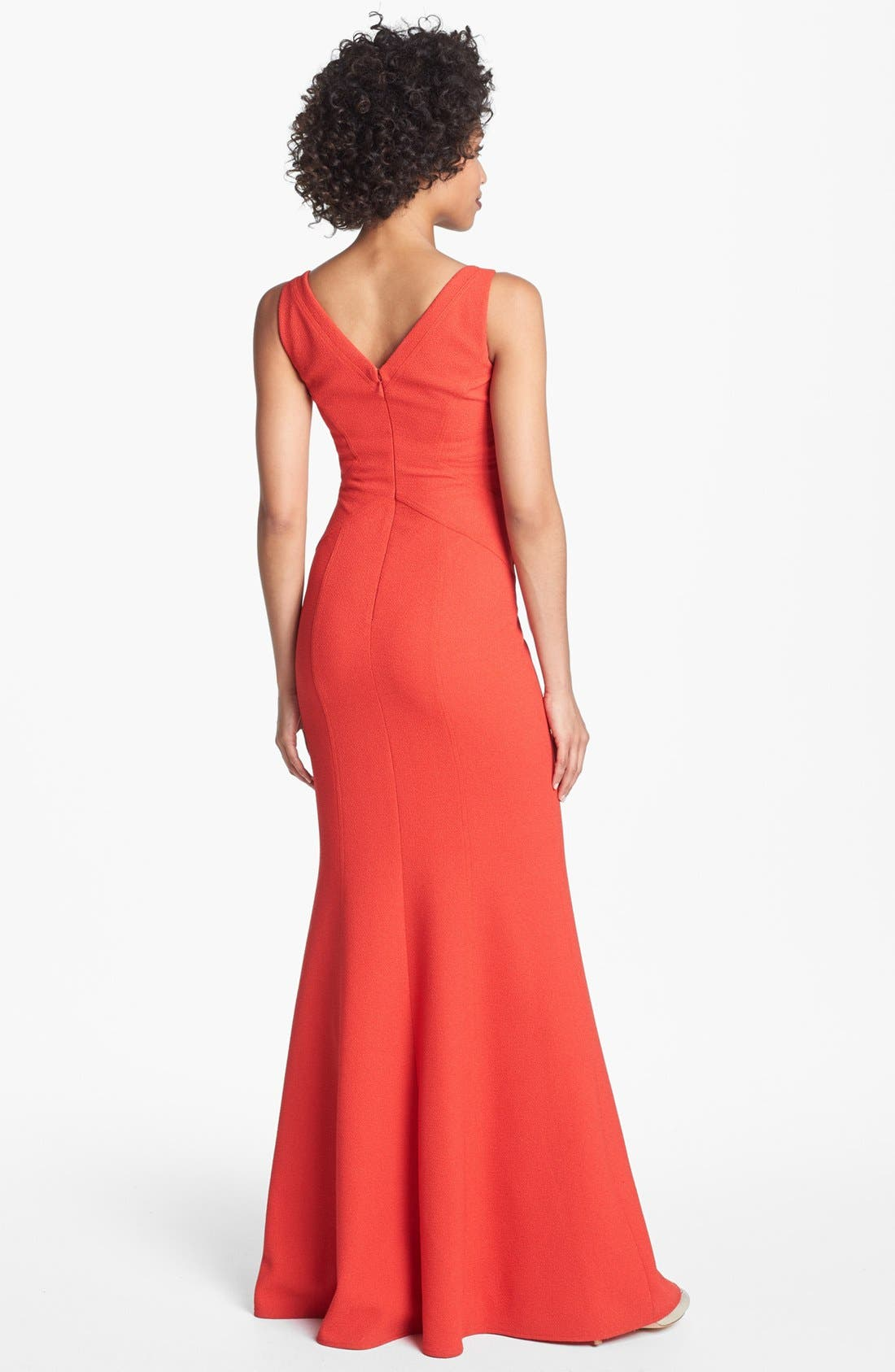 Alternate Image 2  - David Meister Seamed Crepe Trumpet Dress