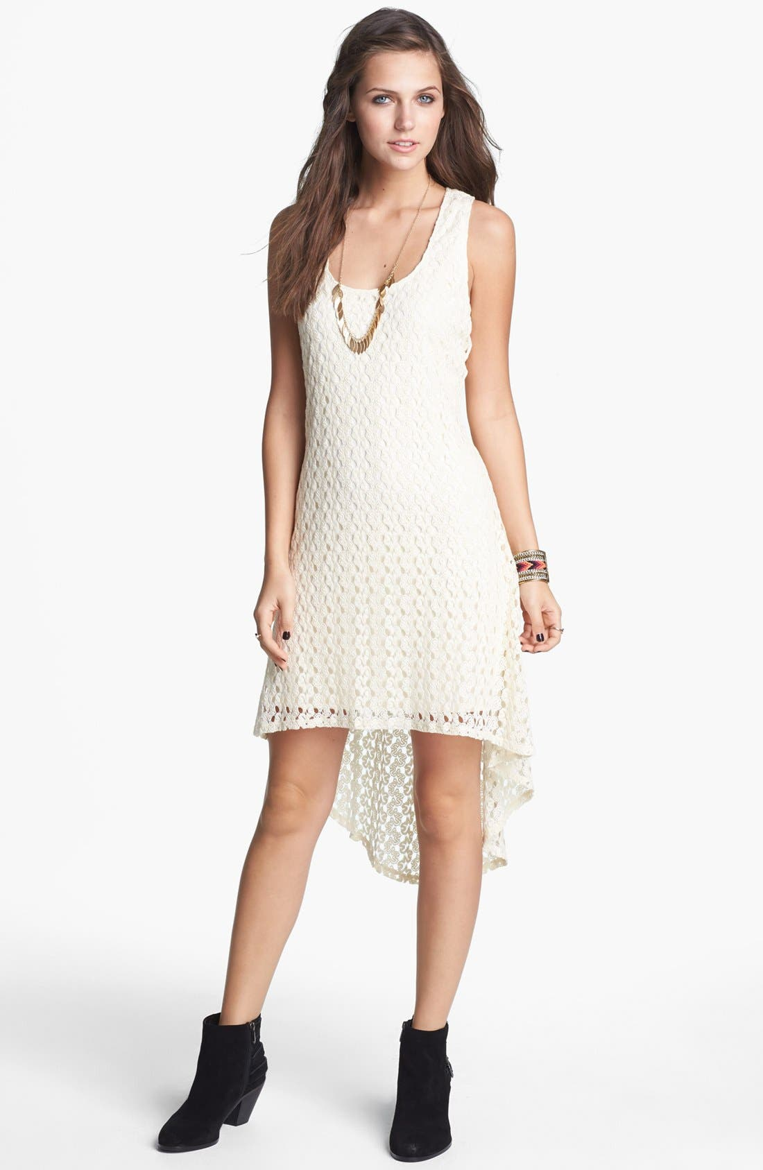 Alternate Image 1 Selected - As U Wish Crochet High/Low Dress (Juniors)