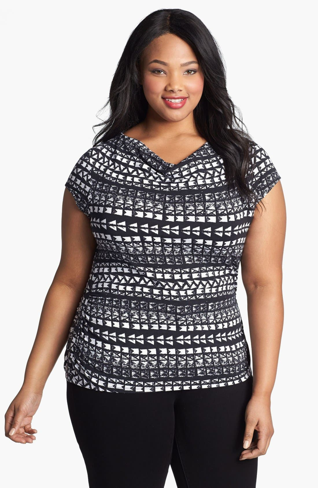 Alternate Image 1 Selected - Sejour Drape Neck Top (Plus Size)