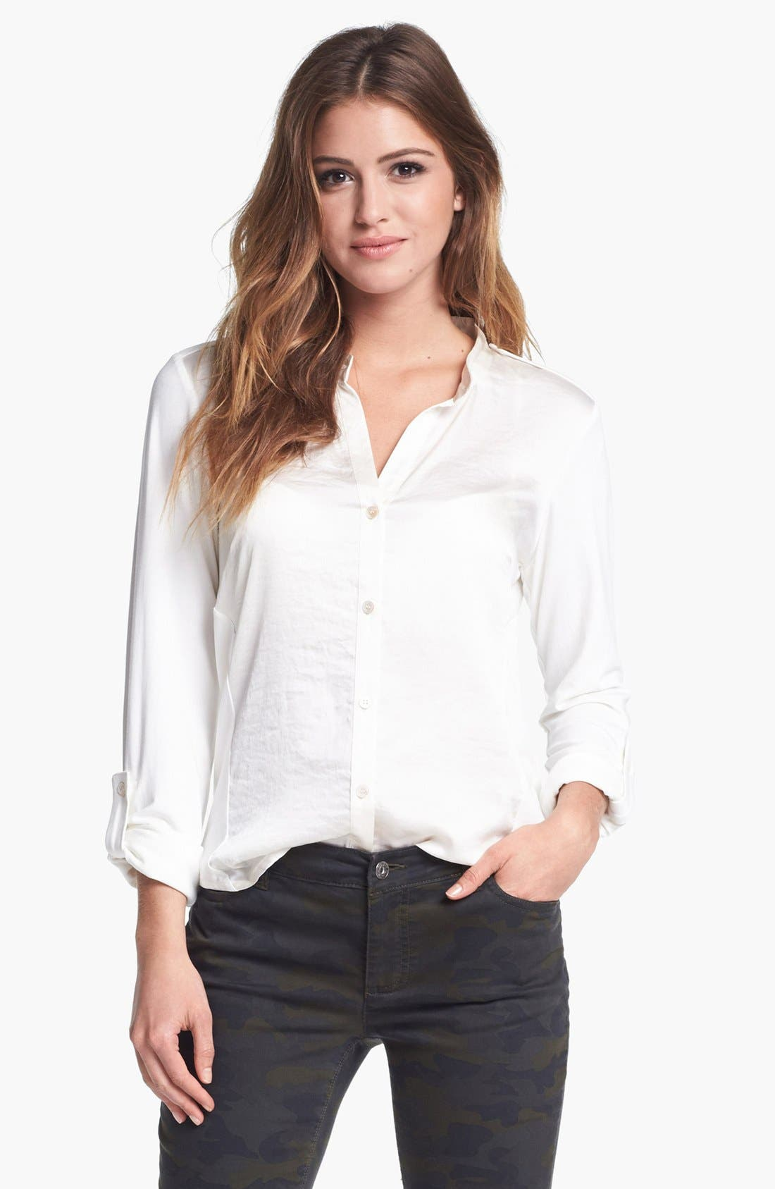 Alternate Image 1 Selected - Vince Camuto Mixed Media Shirt (Nordstrom Exclusive)