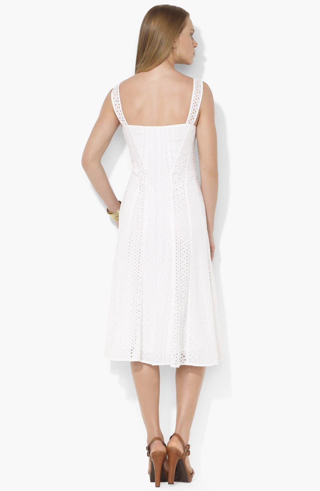 Alternate Image 2  - Lauren Ralph Lauren Eyelet Panel Dress
