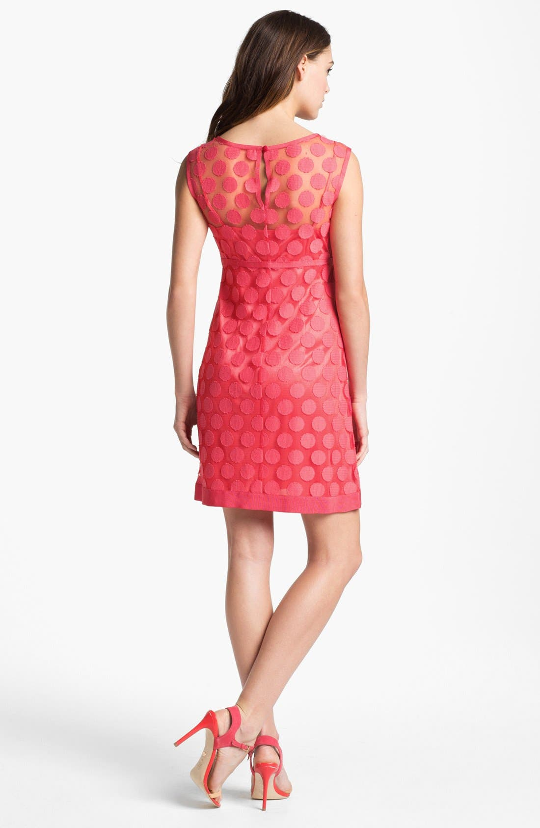 Alternate Image 2  - Laundry by Shelli Segal Polka Dot Lace A-Line Dress (Regular & Petite)