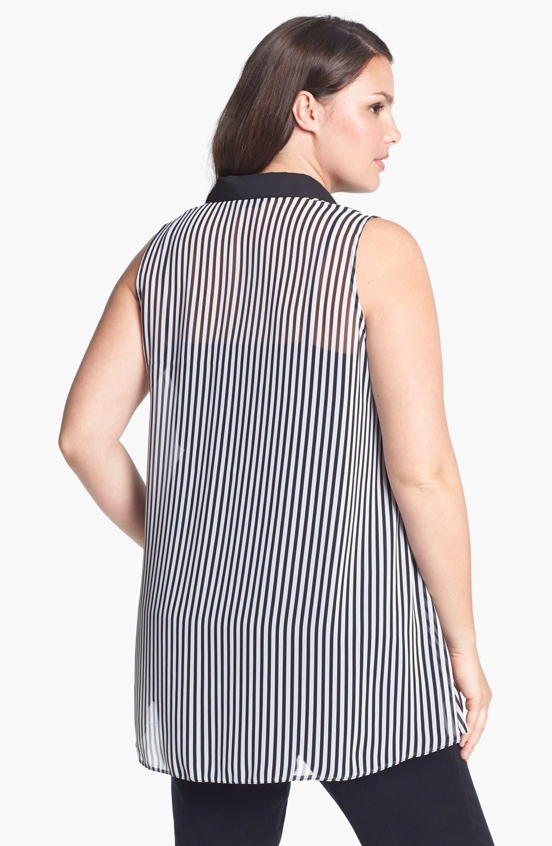 Alternate Image 2  - Evans Mono Stripe Sleeveless Blouse (Plus Size)