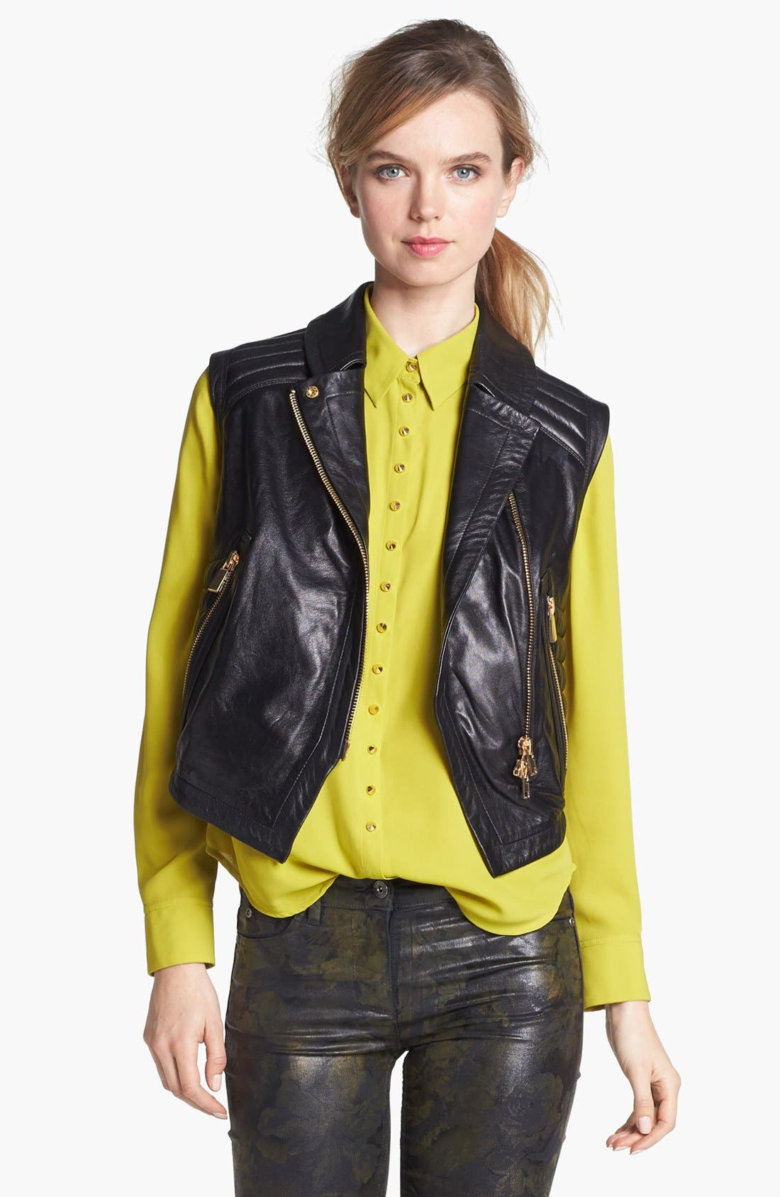 Alternate Image 1 Selected - Vince Camuto Faux Leather Moto Vest