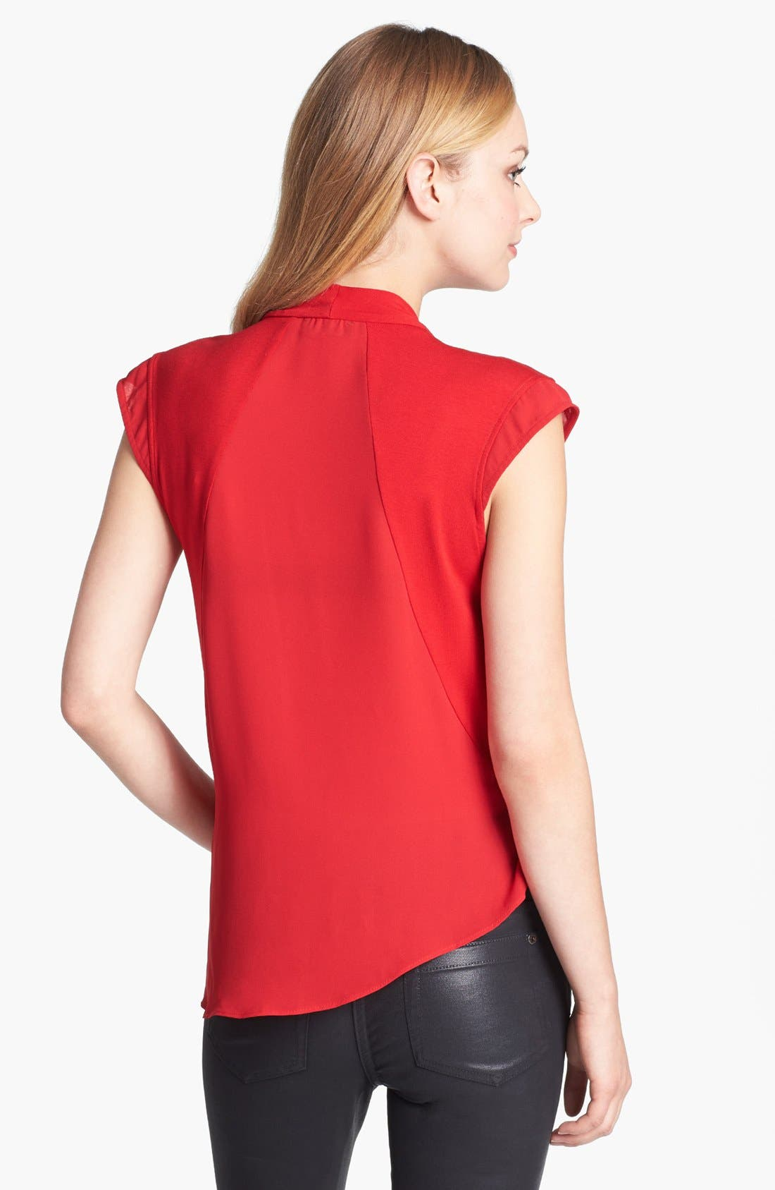 Alternate Image 2  - Vince Camuto Drape Front Mixed Media Top (Online Only)