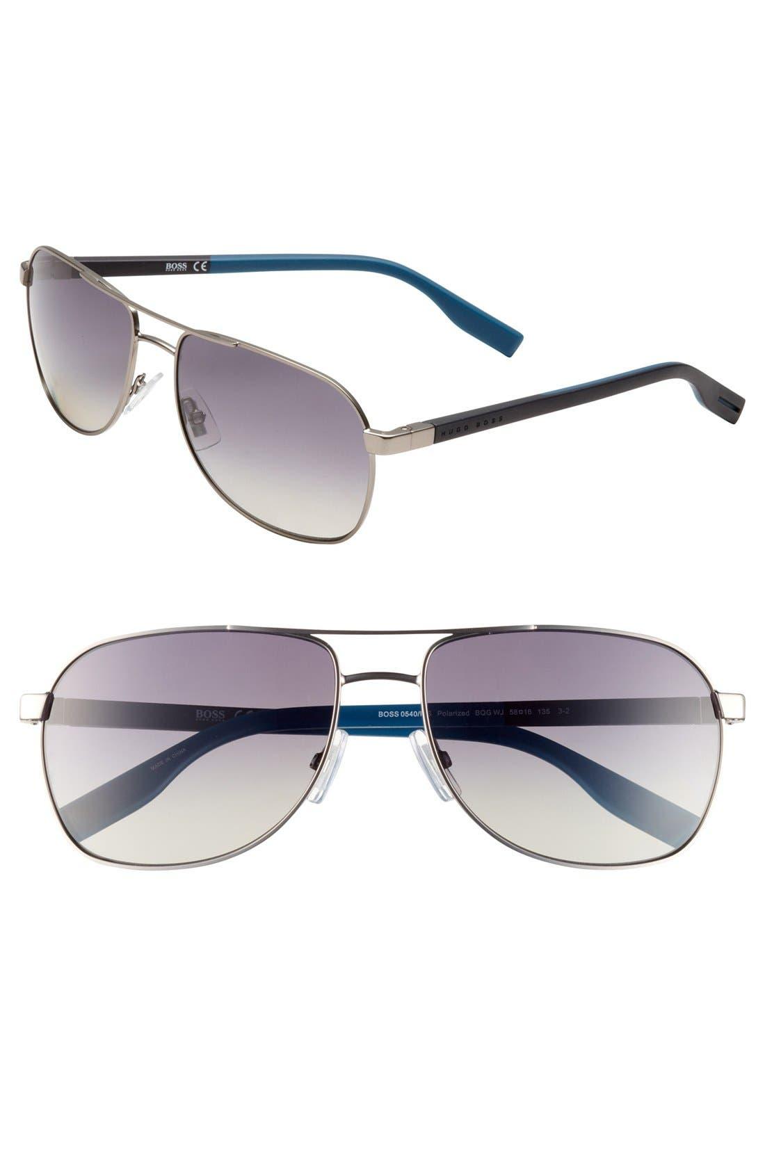 Alternate Image 1 Selected - BOSS Polarized Aviator Sunglasses