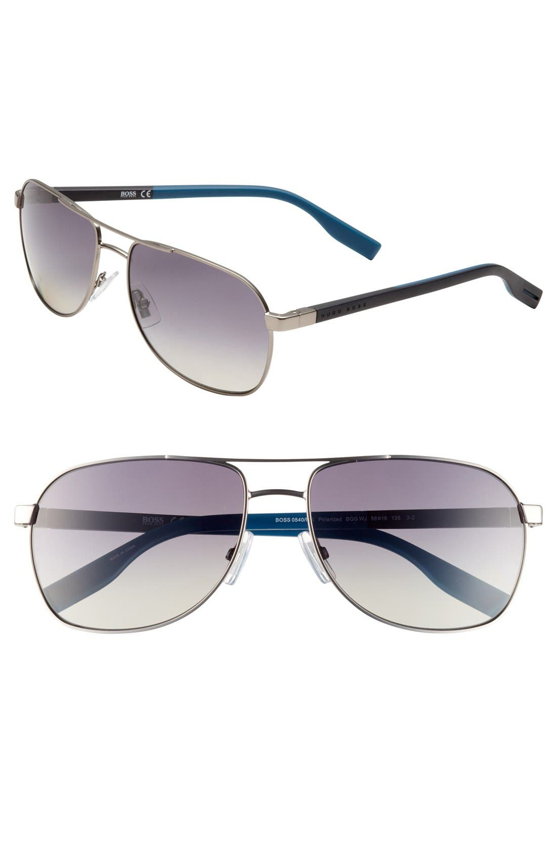 Main Image - BOSS Polarized Aviator Sunglasses