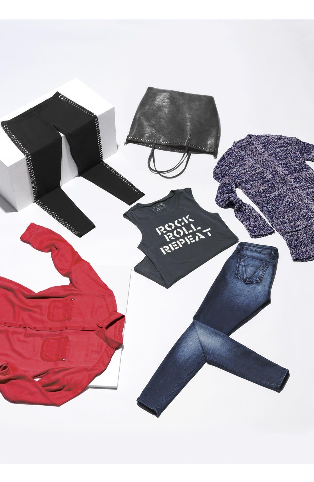 Alternate Image 5  - NB Handbags Studded Faux Leather Tote (Juniors)