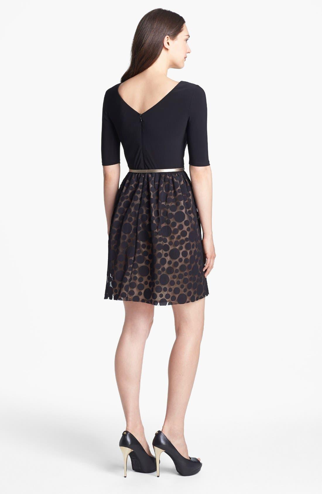 Alternate Image 2  - Eliza J Mixed Media Fit & Flare Dress (Petite)