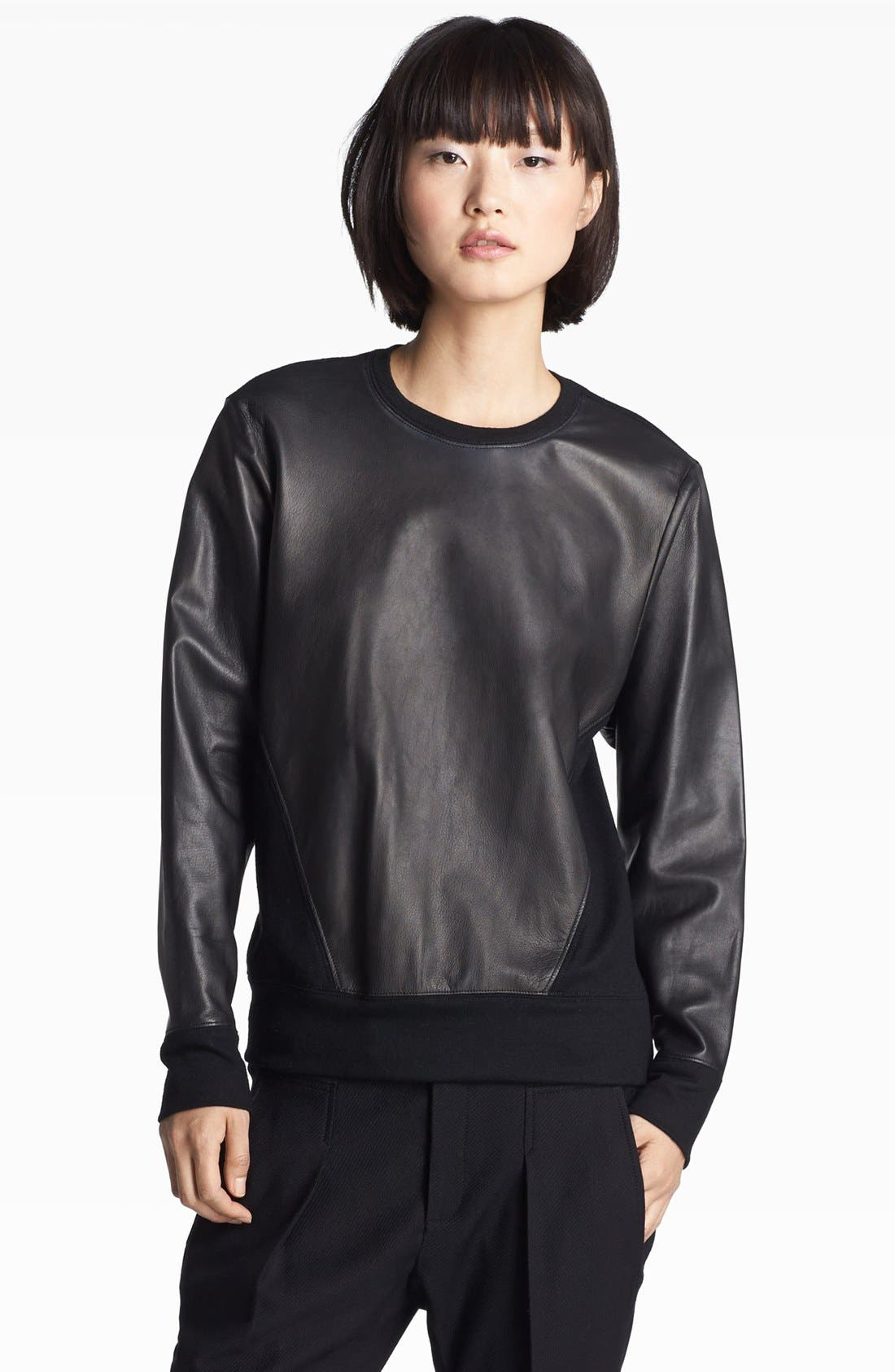 Alternate Image 1 Selected - Helmut Lang Leather Sweatshirt