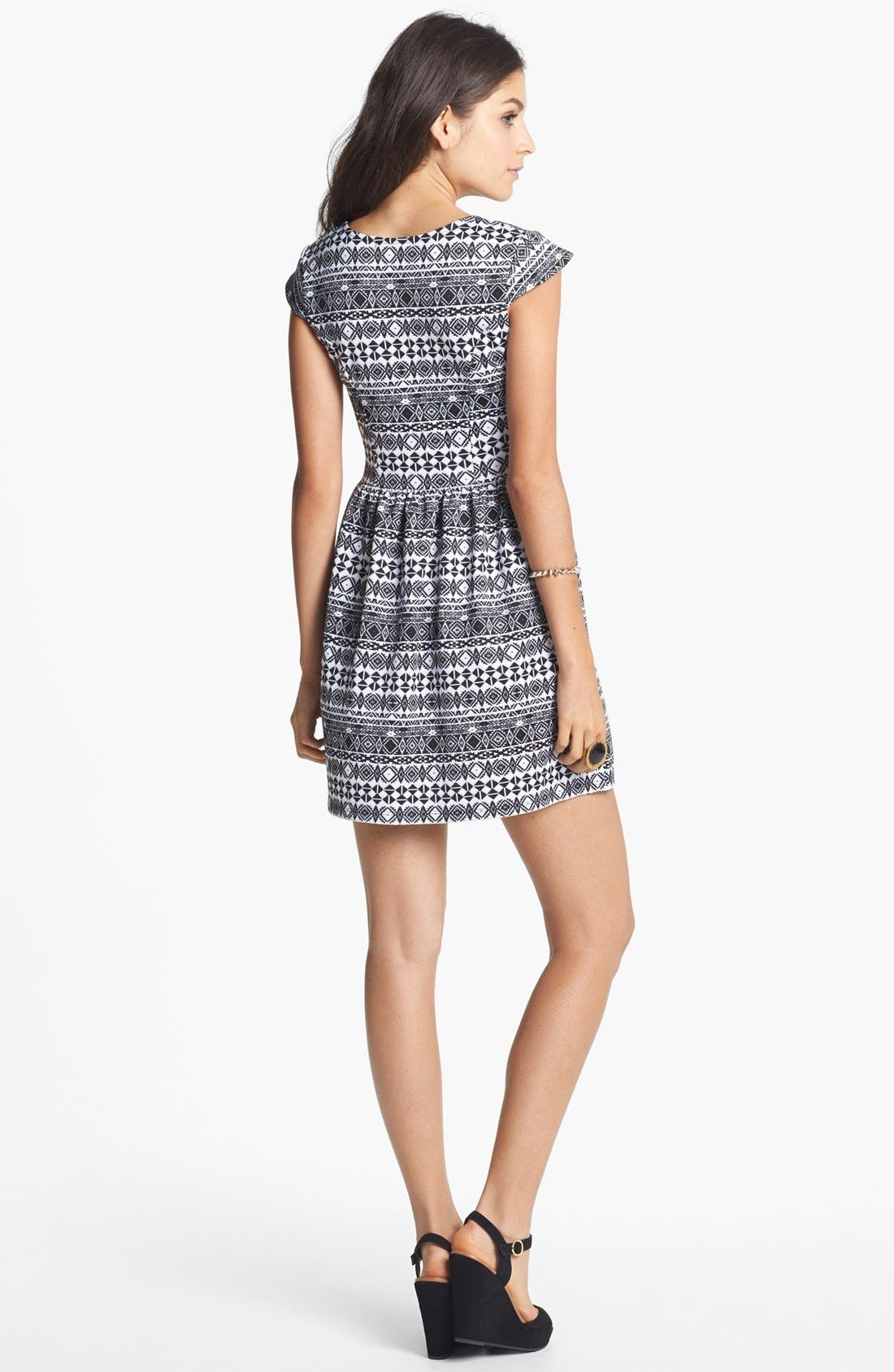 Alternate Image 2  - Socialite Print Skater Dress (Juniors)