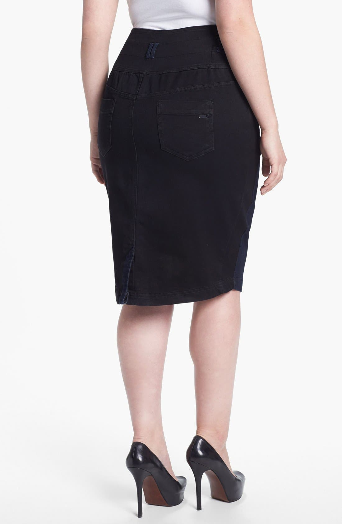 Alternate Image 2  - Evans Colorblock Denim Pencil Skirt (Plus Size)
