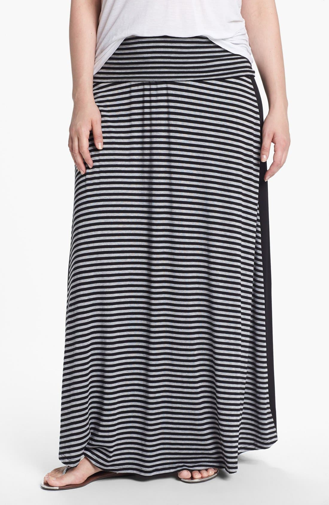 Main Image - Bobeau Tuxedo Stripe Maxi Skirt (Plus Size)