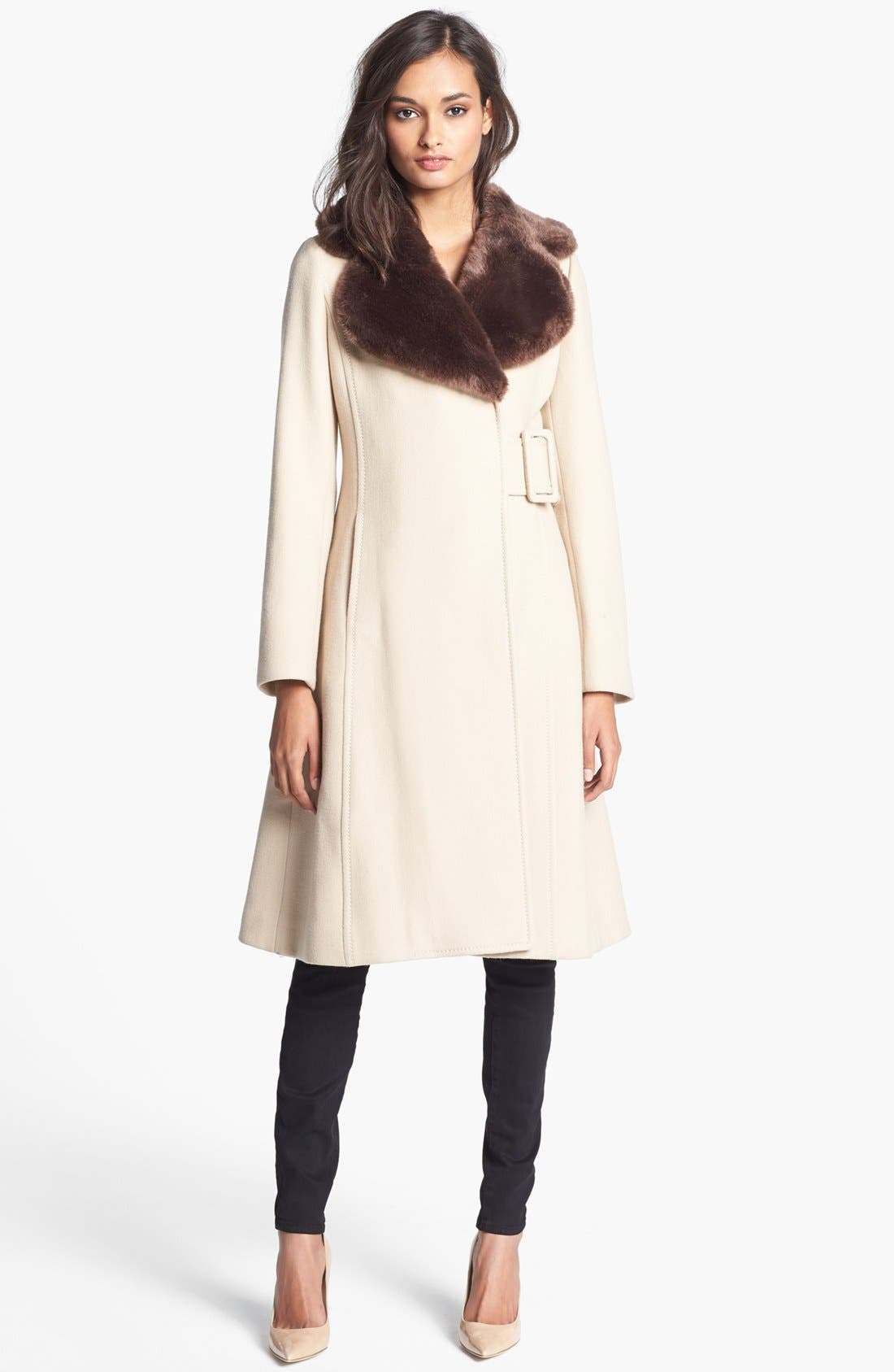 Main Image - kate spade new york 'briella' faux fur collar coat