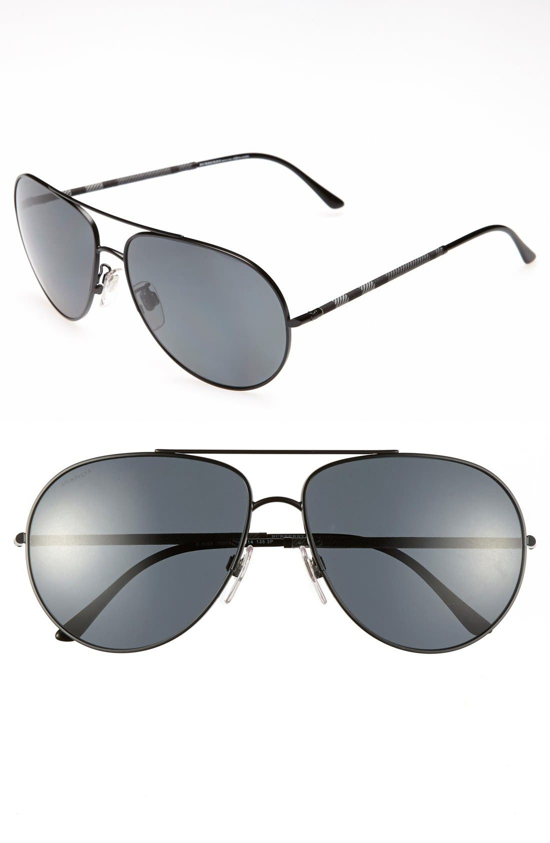Main Image - Burberry 60mm Aviator Wrap Polarized Sunglasses