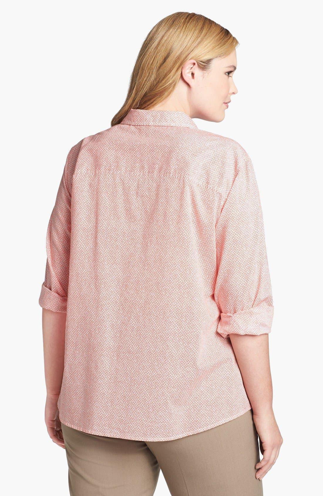 Alternate Image 2  - Halogen® Print Cotton Shirt (Plus Size)