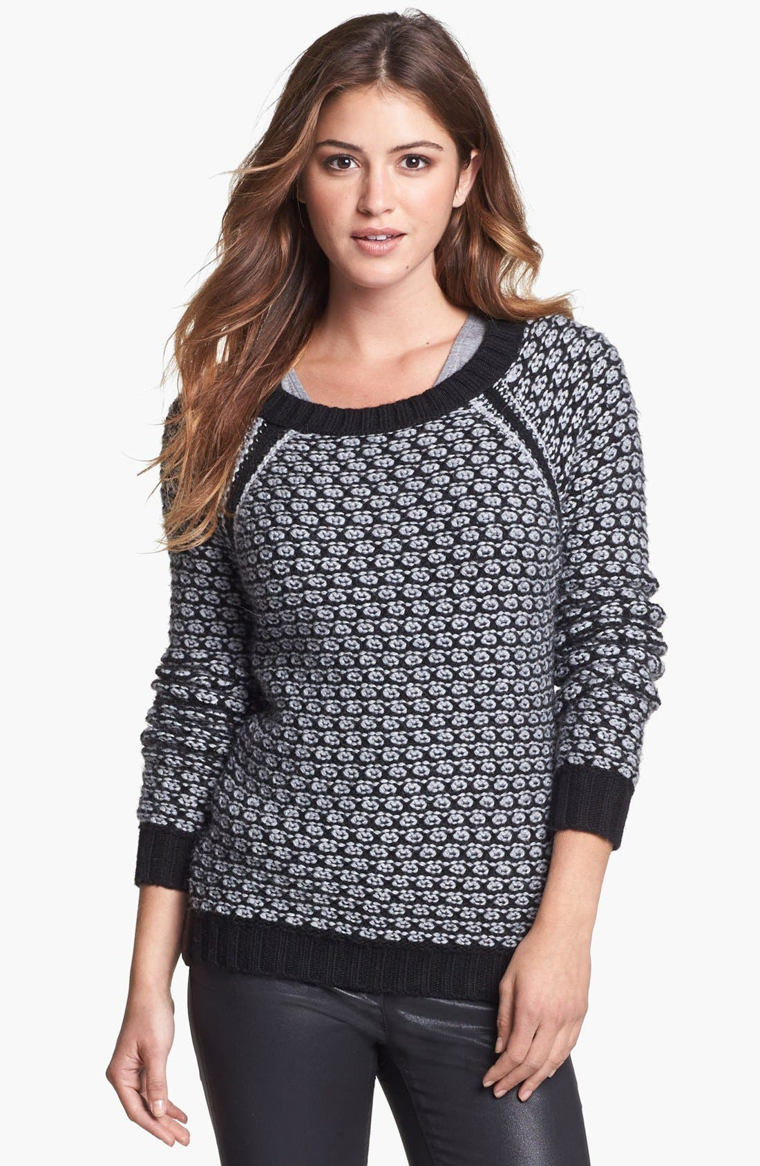 Alternate Image 1 Selected - Two by Vince Camuto Side Zip Honeycomb Knit Sweater