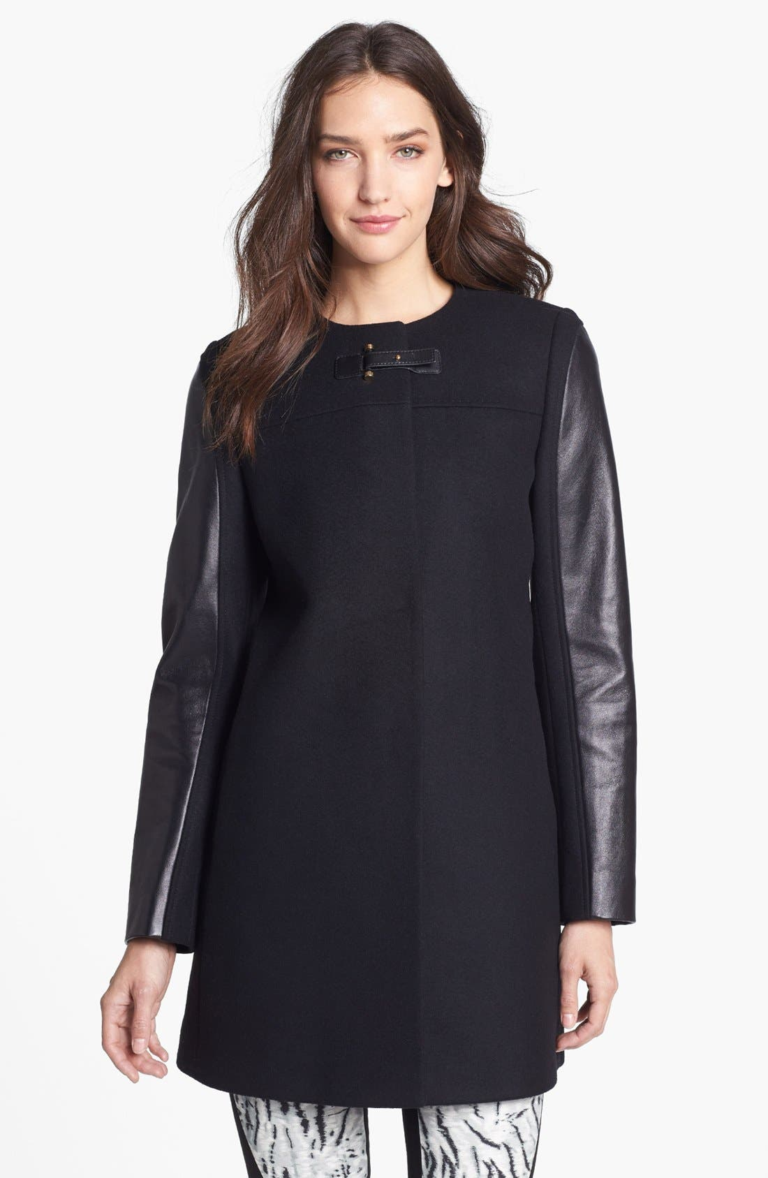 Main Image - French Connection Collarless Leather Sleeve Coat