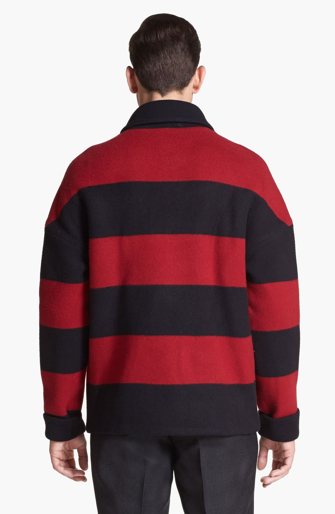 Alternate Image 2  - Burberry Prorsum Stripe Wool Blend Coat