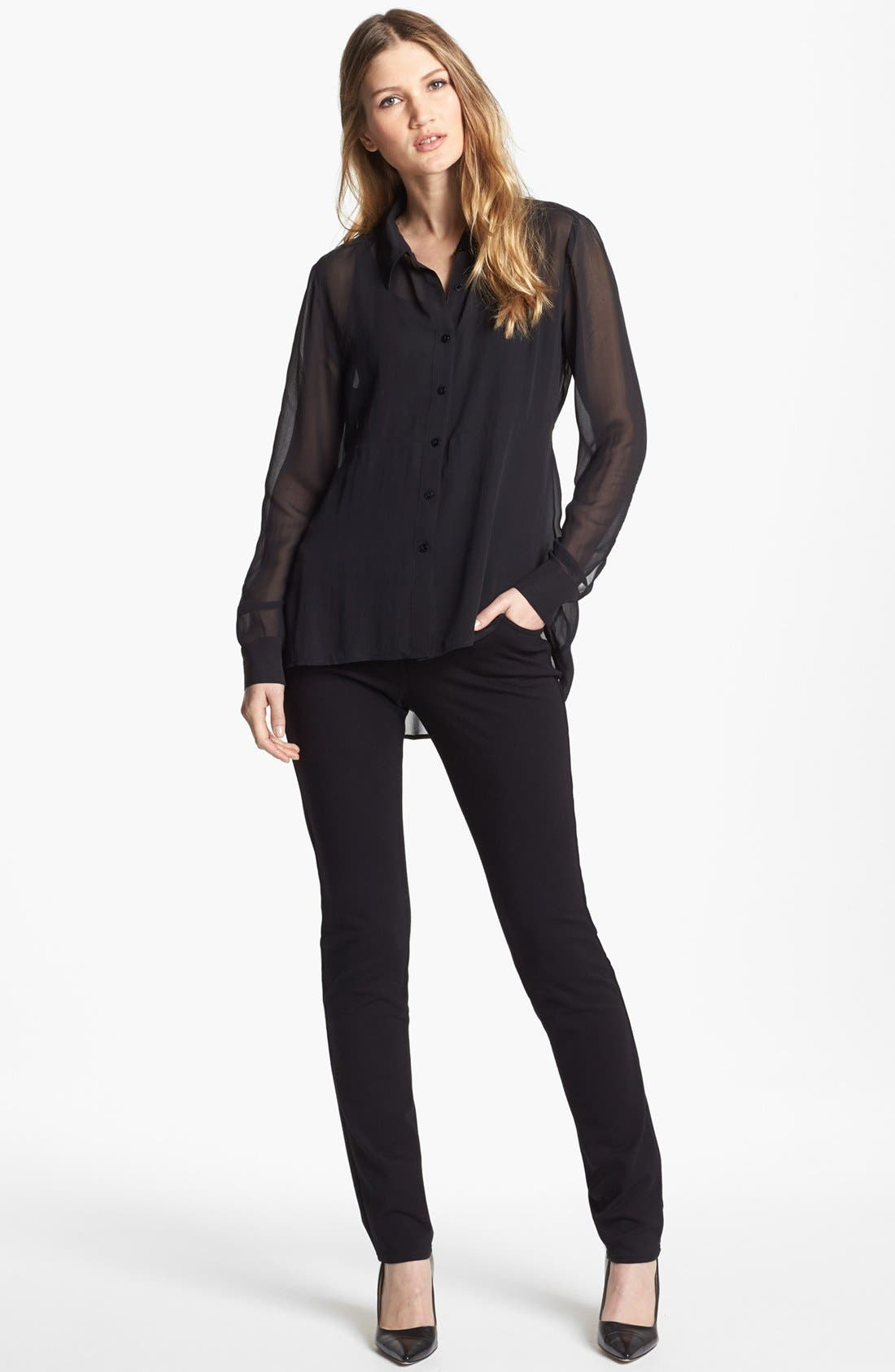 Alternate Image 3  - Eileen Fisher Sheer Silk Georgette Shirt