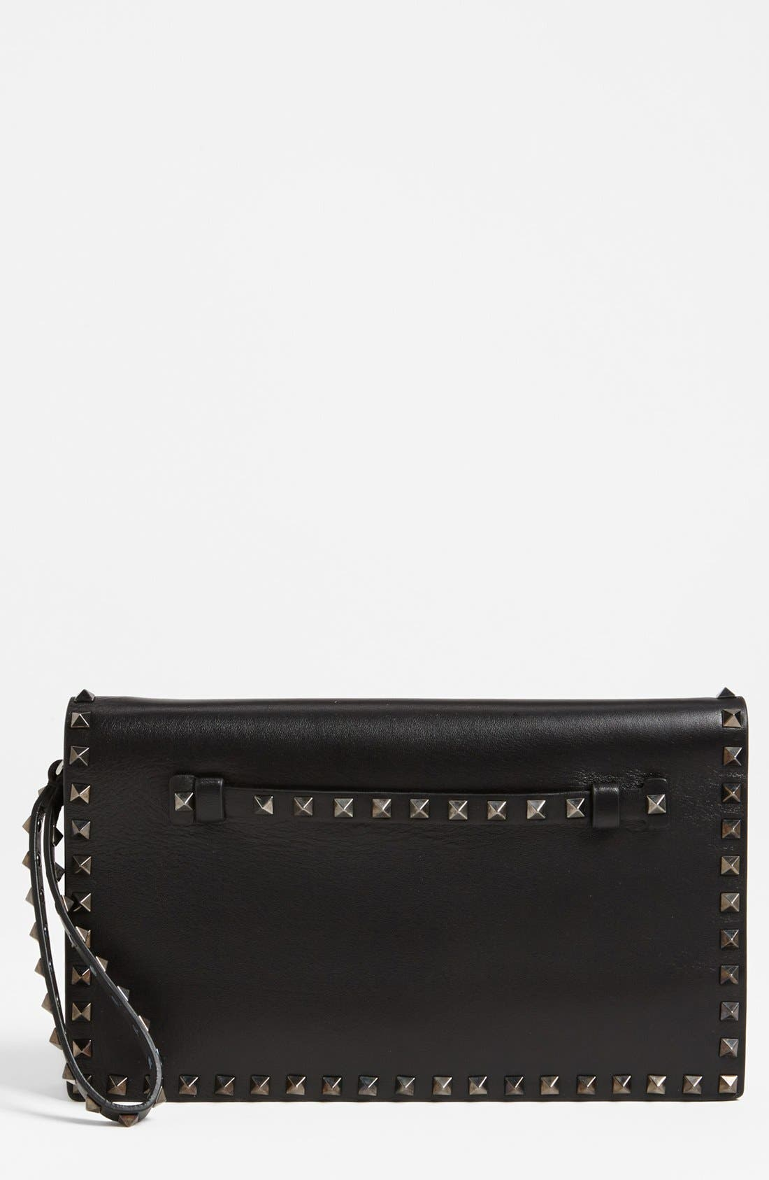 Alternate Image 1 Selected - Valentino 'Rockstud - Noir' Leather Flap Clutch