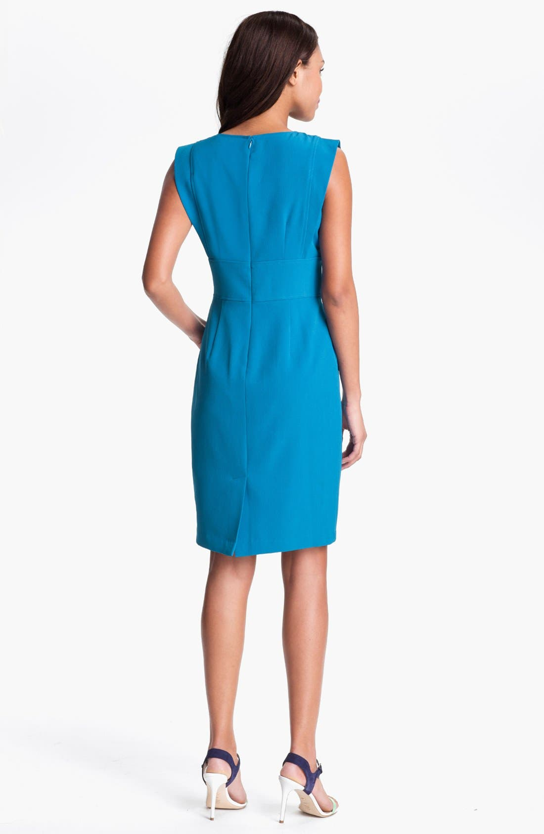 Alternate Image 2  - Adrianna Papell V-Neck Sheath Dress (Petite)