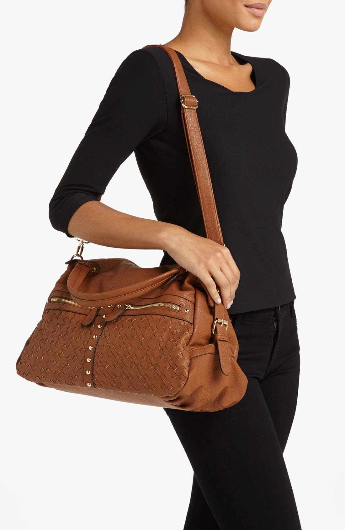 Alternate Image 2  - NB Handbags Weave Detail Faux Leather Satchel (Juniors)