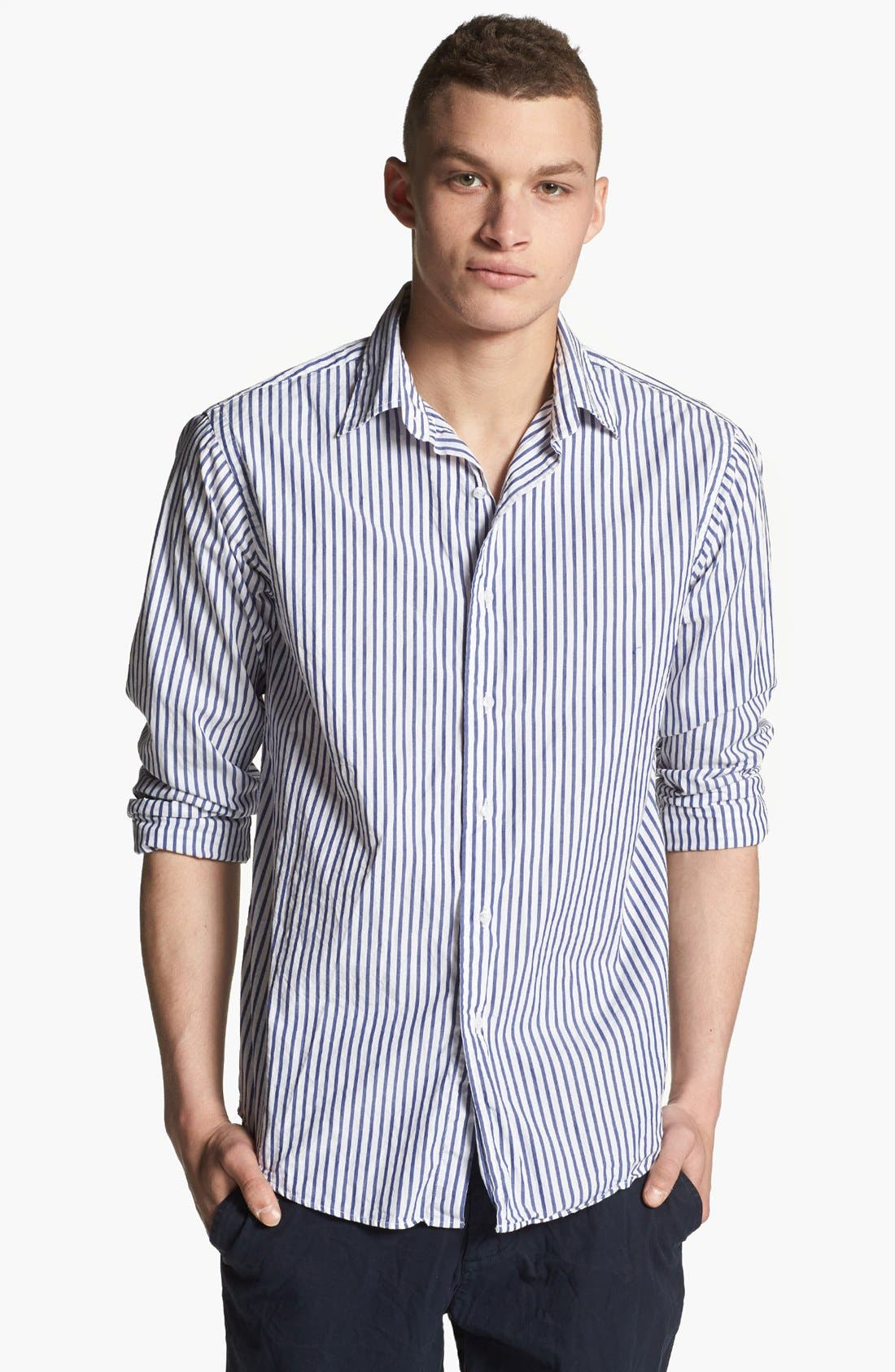 Main Image - Save Khaki Stripe Woven Shirt