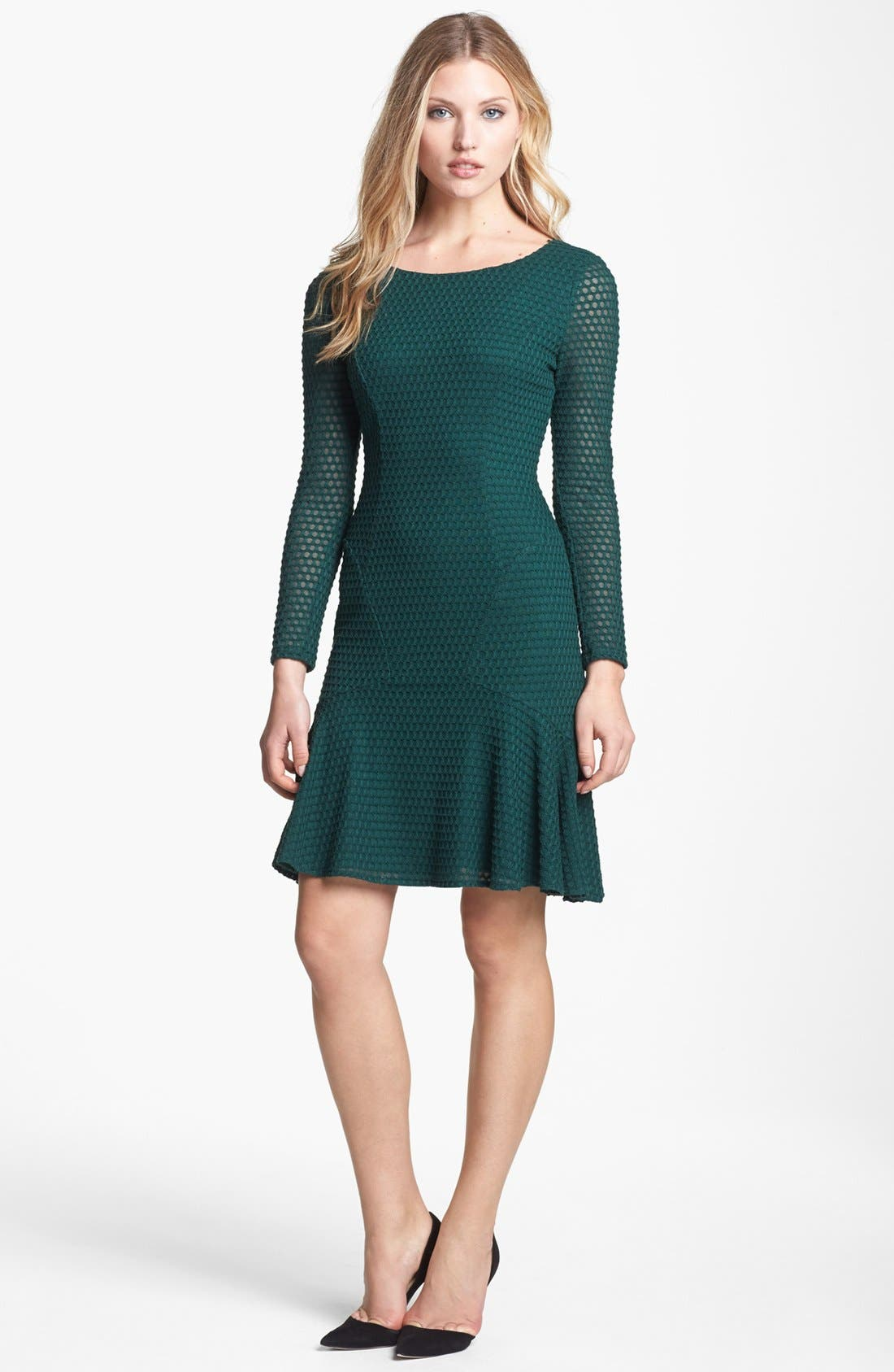 Alternate Image 1 Selected - Maggy London Honeycomb Piqué Seamed Fit & Flare Dress
