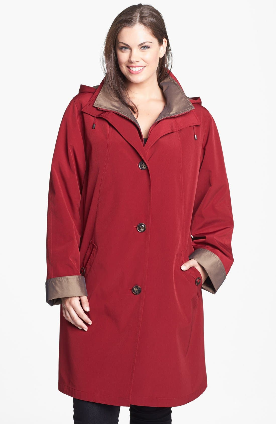 Main Image - Gallery A-Line Coat with Detachable Hood & Liner (Plus Size)