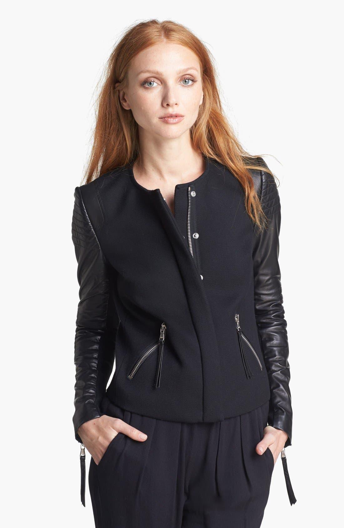 Alternate Image 1 Selected - Rebecca Taylor Twill & Leather Moto Jacket
