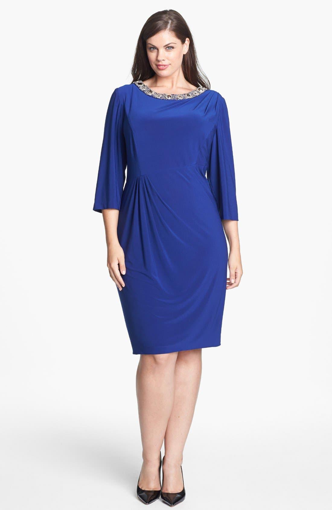 Alternate Image 1 Selected - Alex Evenings Embellished Side Draped Jersey Dress (Plus Size)