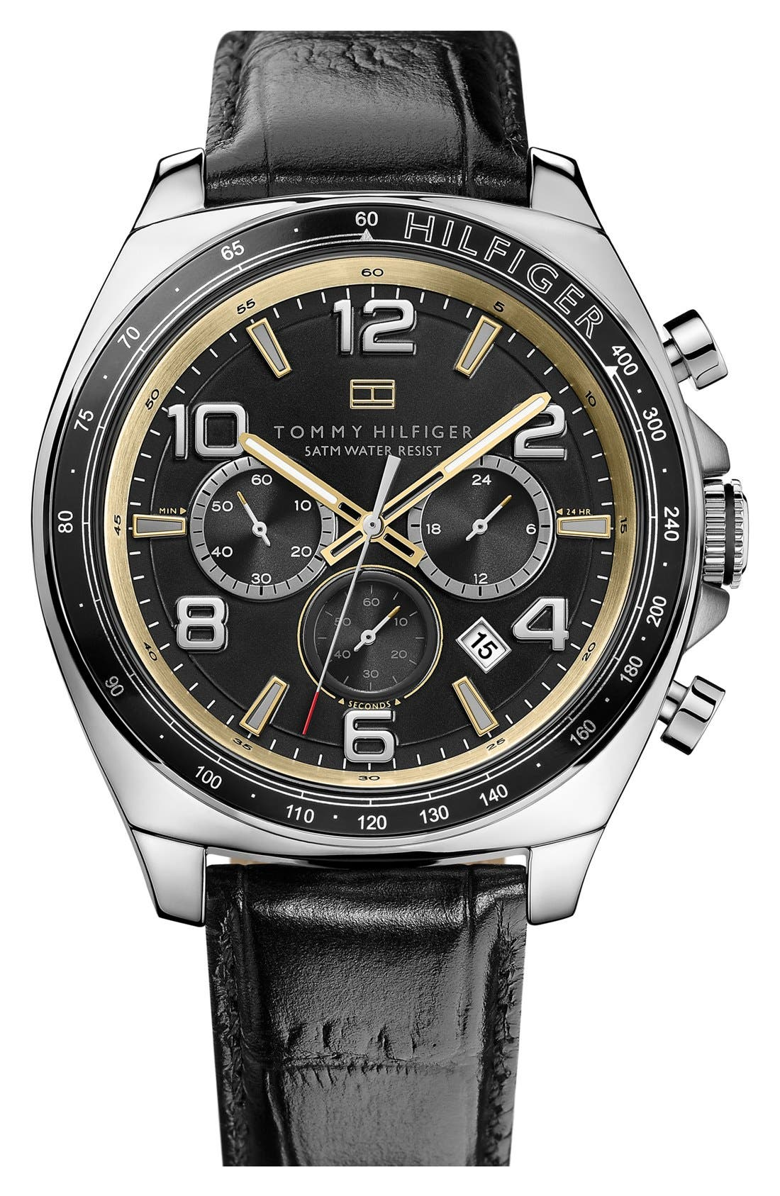 Main Image - Tommy Hilfiger Chronograph Leather Strap Watch, 46mm