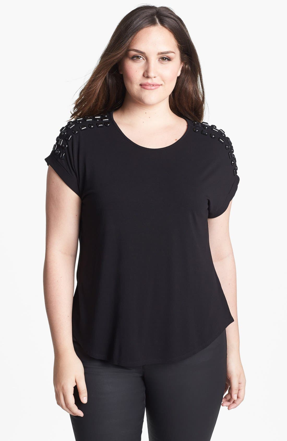 Alternate Image 1 Selected - Vince Camuto Embellished Top (Plus Size)