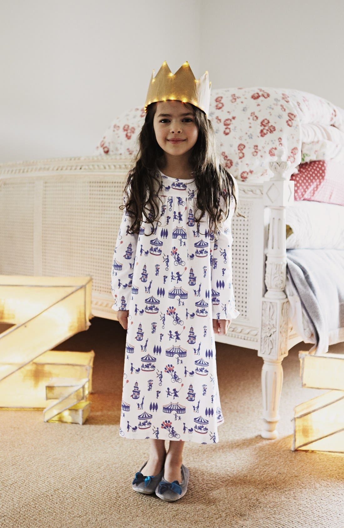 Alternate Image 2  - Mini Boden Print Cotton Nightie (Little Girls & Big Girls)