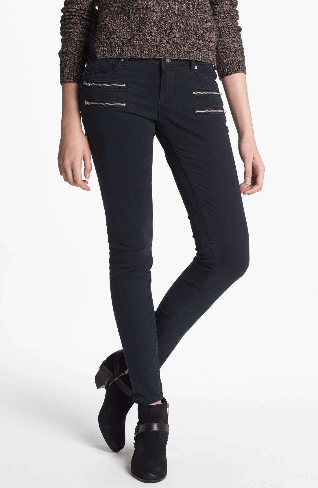 Alternate Image 1  - Vigoss Zipper Detail Twill Pants (Black) (Juniors)