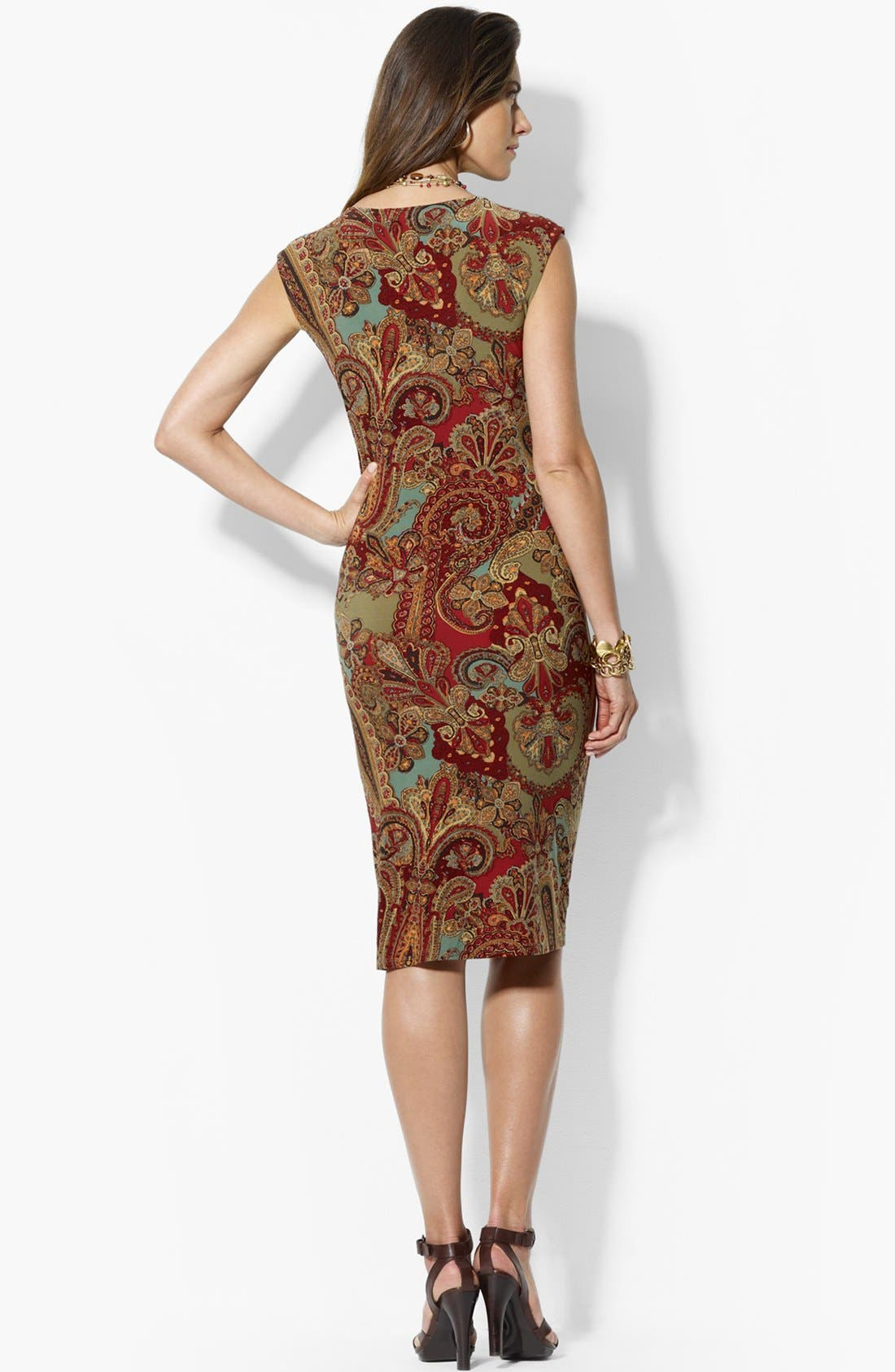 Alternate Image 2  - Lauren Ralph Lauren Faux Wrap Dress (Petite)