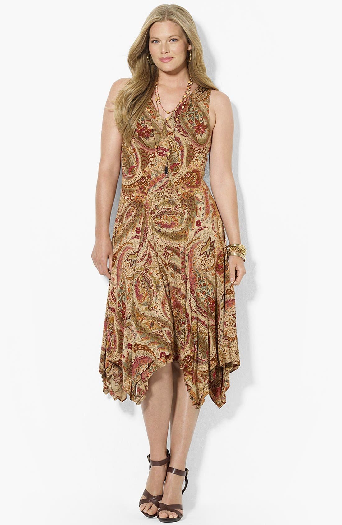 Alternate Image 1 Selected - Lauren Ralph Lauren Print Jersey Dress (Plus Size)